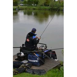 Mark Pollard (Dynamite Baits) fishing on peg 6 on the Pleasure Lake